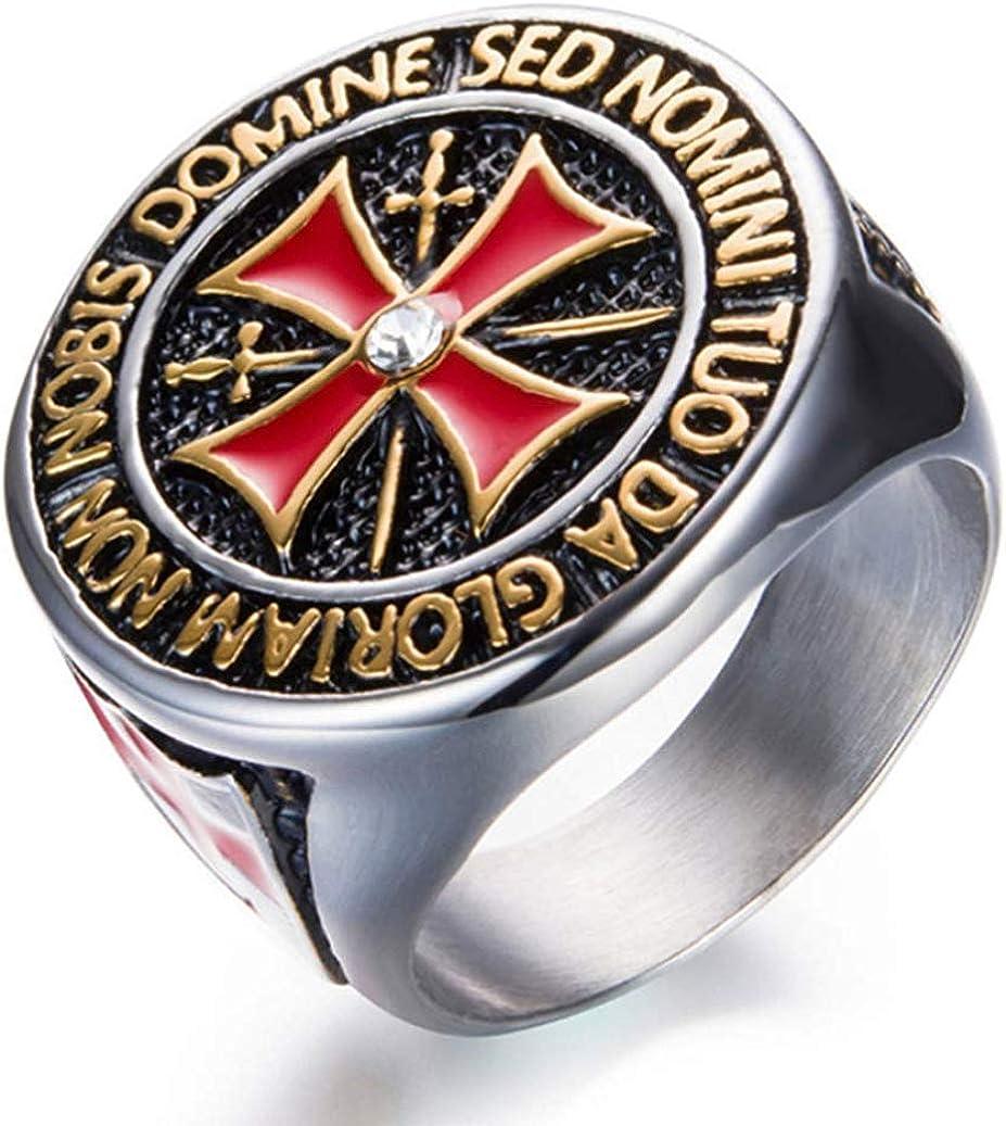 dfhdrtj Praiseworthy para Hombres Templario Religioso Anillo Francmasón Gótico Anillo Masónico Diamante Cruz Anillo