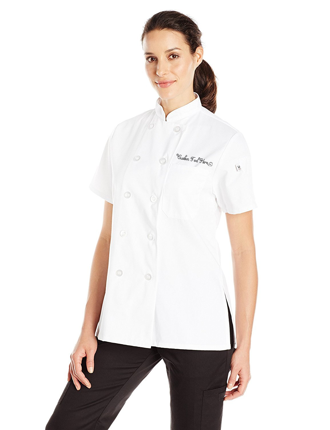 Uncommon Threads Women's Tahoe Fit Chef Coat with Custom Text, White, Small