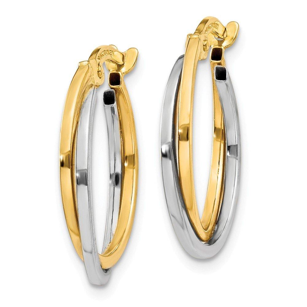 Mia Diamonds 14k Gold Two-tone Polished Hollow Hoop Earrings