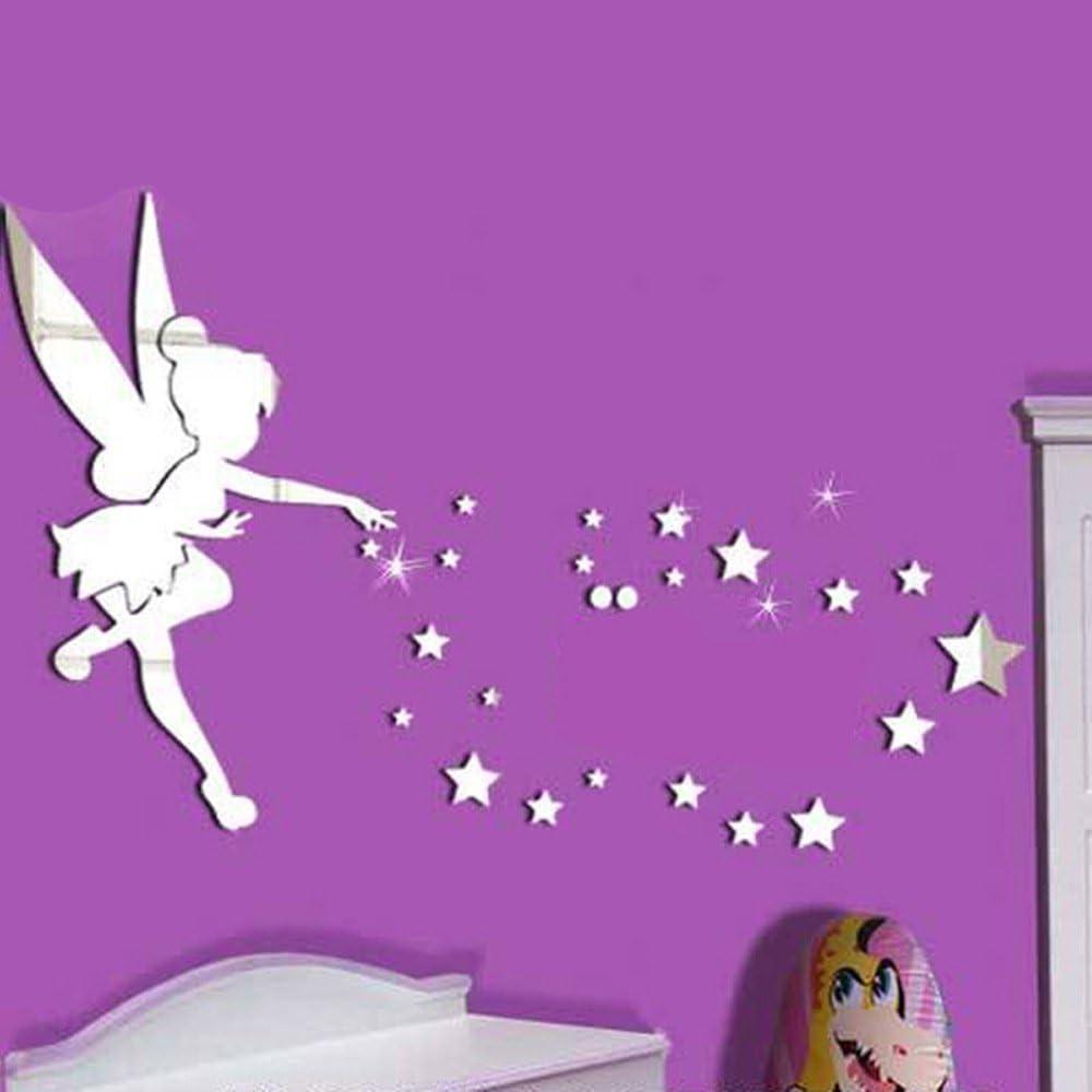26PCS//set Tinkerbell fata specchio da parete in acrilico specchio decorativo Trilli Wall Stickers decorazione