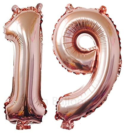 Amazon ZIYAN 40 Inch Giant 19th Rose Gold Number Balloons