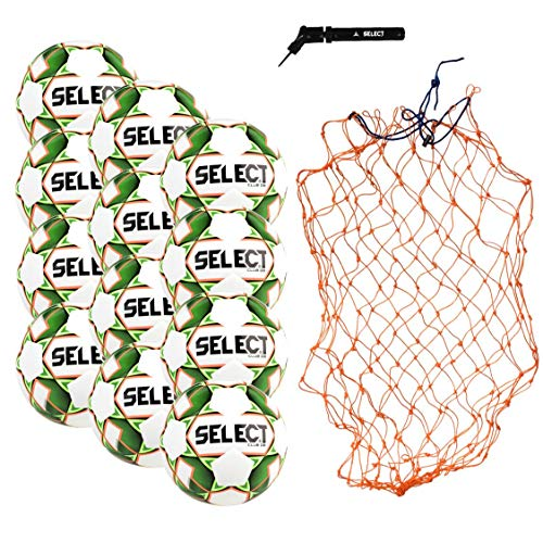 Select Club DB Soccer Ball Package - Pack of 12 Soccer Balls with Ball Net and Hand Pump, White/Green, Size 5