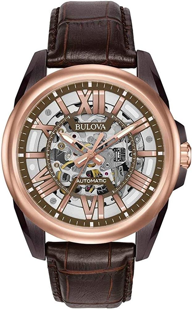 Bulova Men s Mechanical Hand Wind Stainless Steel and Leather Dress Watch, Color Brown Model 98A165