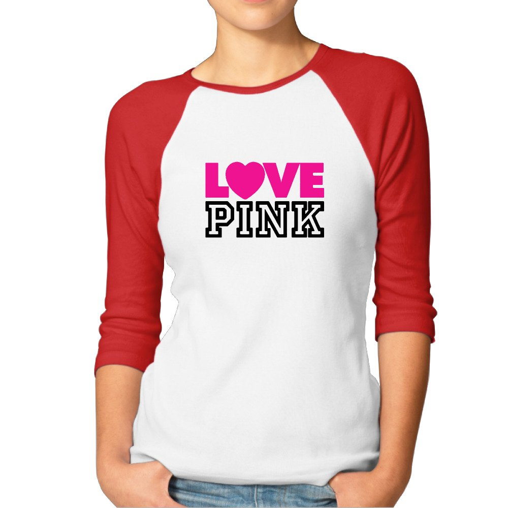 Jonesseller Woman's 3/4 Sleeve Raglan Love Pink Plain Baseball T Shirts Black
