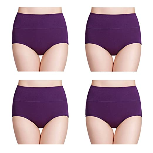 wirarpa Women's Cotton Underwear High Waisted Full Brief Panty Ladies No Muffin Top Underpants 4 Pack Purple Size 8, X-Large
