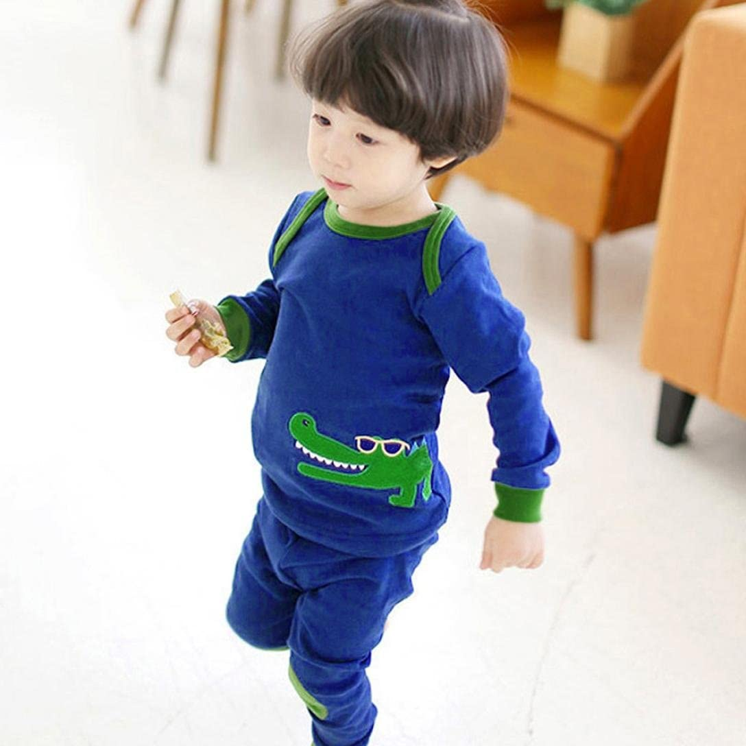 Efaster Childrens Long-Sleeved Cartoon Crocodile Pattern Home Patch Pajamas Set