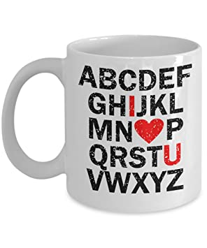 af740e74c2 Alphabet Mug 11oz - I Heart You - ABCDEFGH I Love You Mug - Unique  Valentines Sweet Gift for Partner Coffee Cup for Couples and Lovers:  Amazon.ca: Home & ...