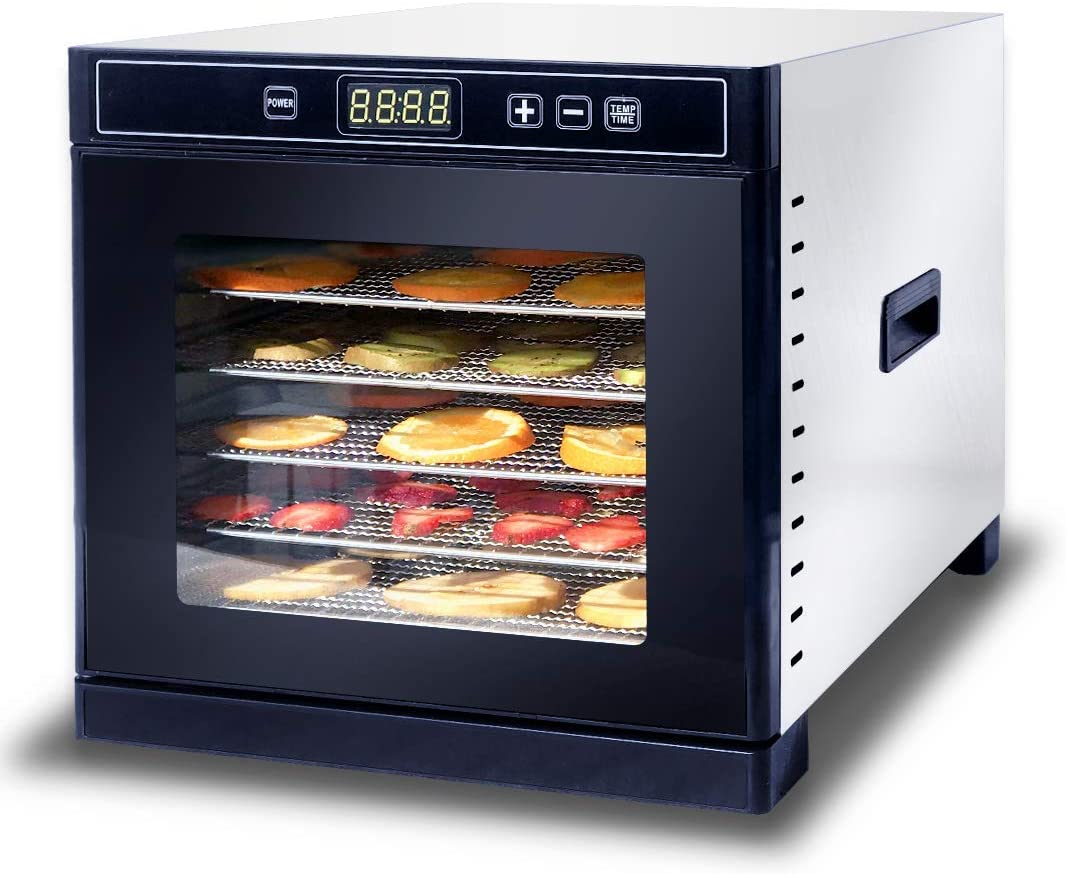 Norvish Food Dehydrator Machine | 6 Stainless Steel Trays | Digital Timer and Temperature Control | Dryer for Jerky, Fruits, Herbs, Pet Food, Vegetables | Free Recipe Book | Adjustable Timer 600 Watts