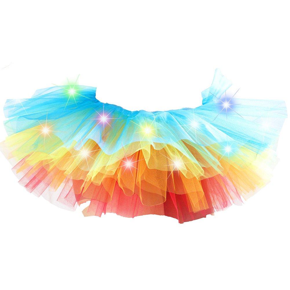 Trenton Women's Mini Tutu Skirt Rainbow with Led Light Up Tulle Costume Party Dance