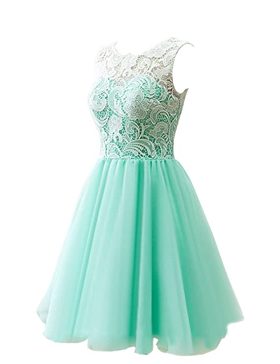 Amazon.com: MicBridal Flower Girl / Adult Ball Gown Lace Short Prom Dress Green US10: Clothing