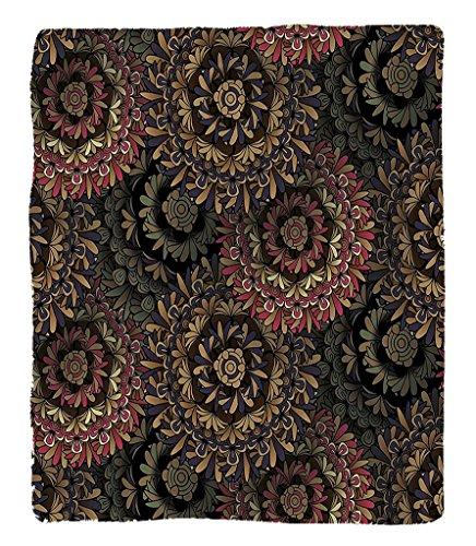 Led Zeppelin Beach Towel (Chaoran 1 Fleece Blanket on Amazon Super Silky Soft All Season Super Plush Dark Eastern Mala Patterns Large Flowers Retro Bohemian Fantasy Garden Themed Graphic Fabric et)
