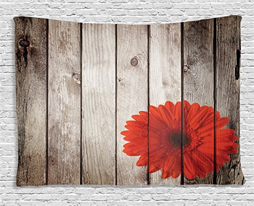 Ambesonne Grunge Decor Collection, Rustic Wooden Garden Fence with a Red Daisy Bloom Picture Flower Art Floral Garden Design, Bedroom Living Room Dorm Wall Hanging Tapestry, 60 X 40 Inches, Grey Red
