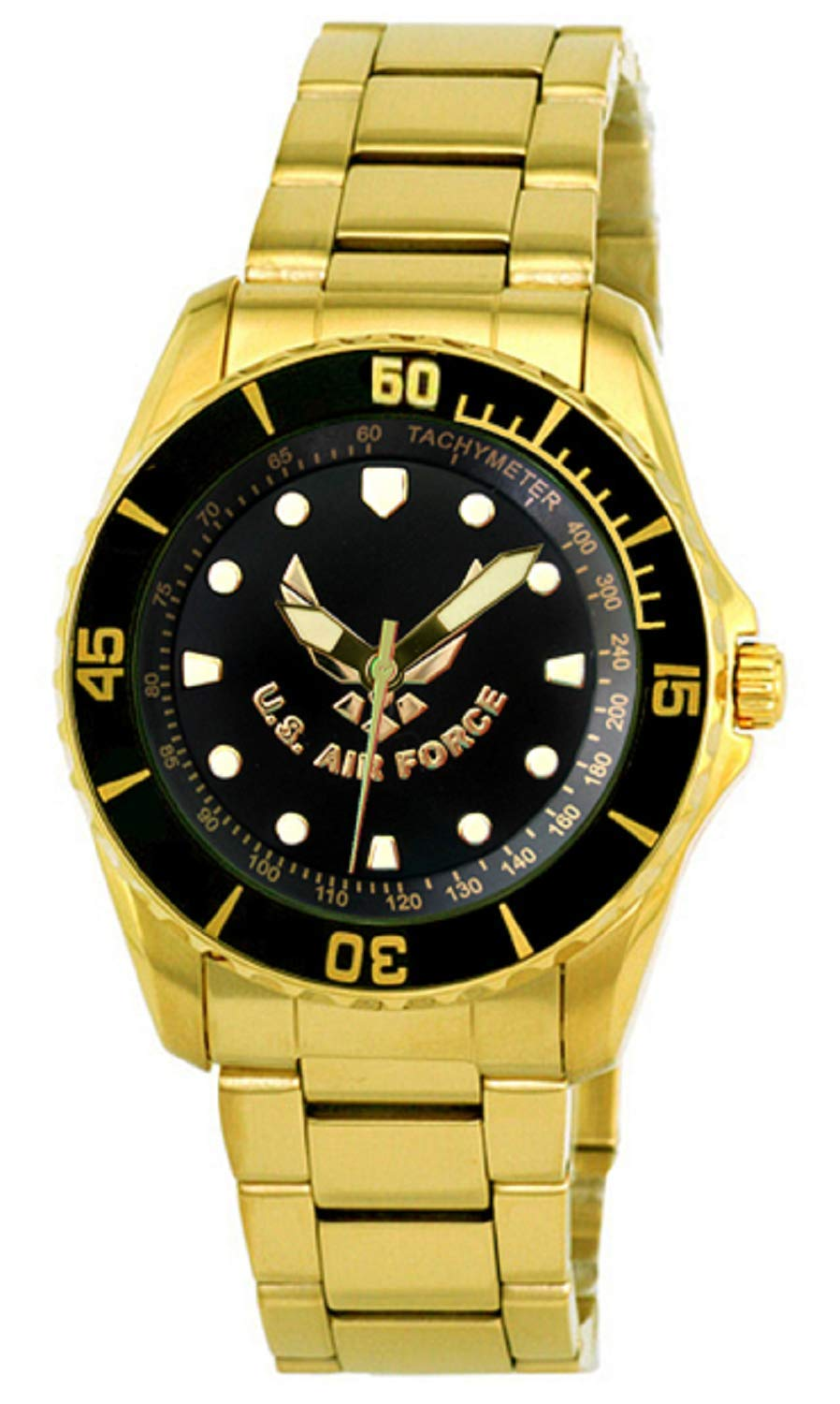 Aqua Force Air Force Golden Watch with 47mm Black Face
