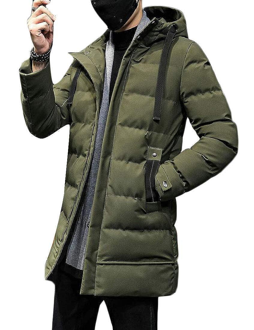 BYWX Men Warm Quilted Winter Thicken Zipper Hooded Slim Fit Down Parka Coat