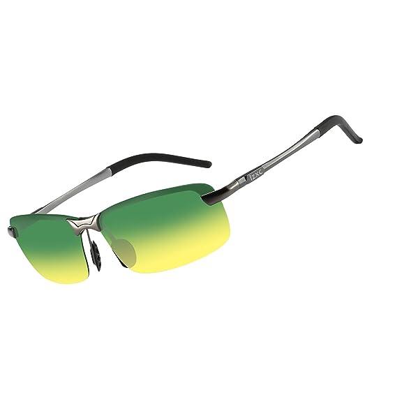 LZXC Gafas de Sol Hombre Polarizadas, Lente de Visión Diurna y Nocturna para Conducir