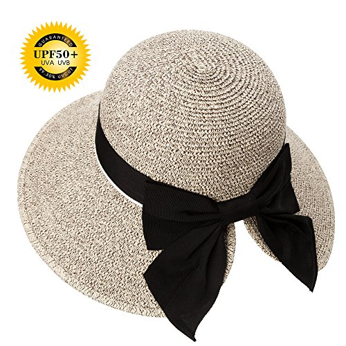 Siggi Floppy Summer Sun Beach Straw Hats Accessories for Women Wide Brim UPF 50 Foldable 55-56cm Tan