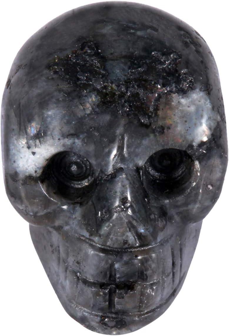 "rockcloud Healing Crystal Stone Human Reiki Skull Figurine Statue Sculptures Labradorite 1"""