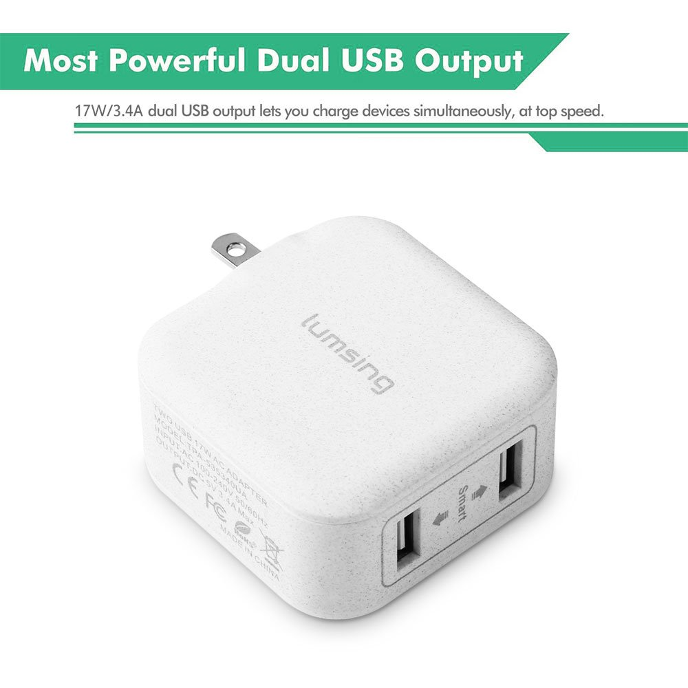 Buy Lumsing Dual USB wall charger compact travel charging hub with ...