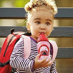Skip Hop Zoo Straw Bottle, Holds 12 oz, Livie Ladybug