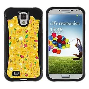 LASTONE PHONE CASE / Suave Silicona Caso Carcasa de Caucho Funda para Samsung Galaxy S4 I9500 / Yellow Happy Upbeat Pattern