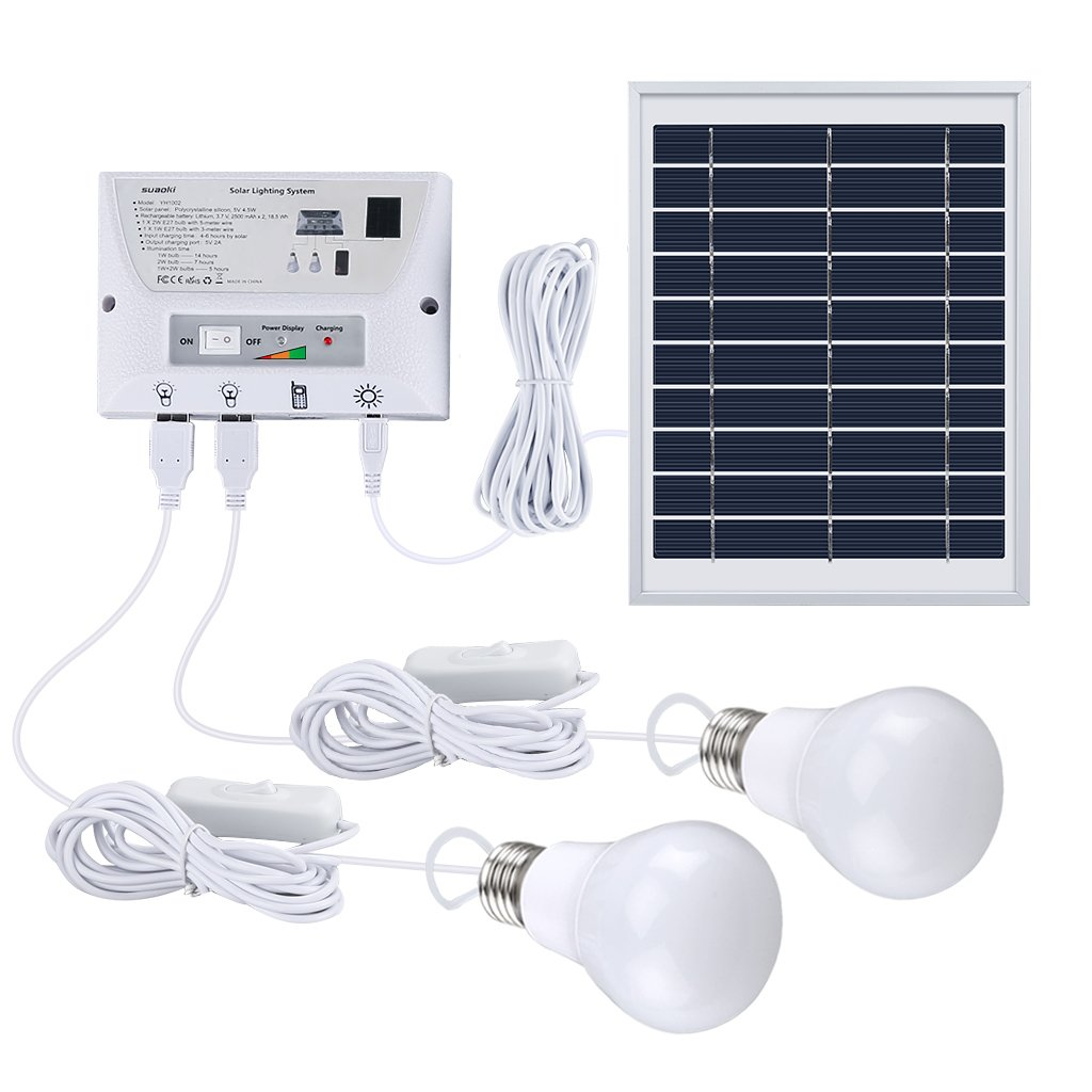 SUAOKI Solar Lighting System Portable Home Light Kit with Solar Panel, Controller, 2 LED Bulbs, 3 USB Ports and 1 USB Cable for Indoor Outdoor Camping Garage Emergency