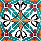 Backsplash Peel and Stick Tile Stickers 24 PC Set Authentic Tile Decals Bathroom & Kitchen Vinyl Wall Decals Easy to Apply Just Peel & Stick Home Decor (8x8 Inch, Turquoise H6)