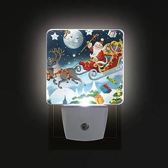 Ahomy luz nocturna LED, diseño de ciervo de Papá Noel con estrellas y cielo atardecer al amanecer, lámpara de enchufe para habitación de bebé, adultos, 2 unidades: Amazon.es: Iluminación