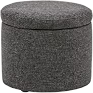 "Amazon Brand – Rivet Madison Modern Round Lift-Top Storage Tray Ottoman Pouf, 19.7""W, C"