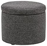 Rivet Madison Lift-Top Modern Storage Ottoman, 20'' W, Caviar