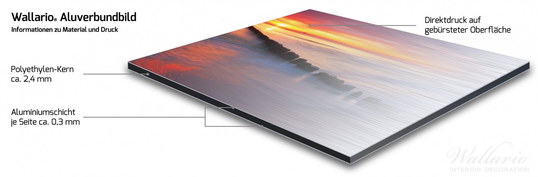 freischwebende Optik Wallario Glasbild Farbenspiel im Himmel 32 x 80 cm in Premium-Qualit/ät: Brillante Farben Sonnenuntergang am Strand