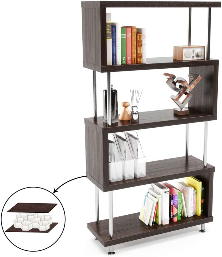 Bestier 5 Shelf Bookcase S-Shaped, Geometric Bookcase Wood Storage Corner Shelves, Z Shaped 5 Tier Vintage Industrial Etagere Bookshelf Stand for Home Office Living Room Decor Books Display