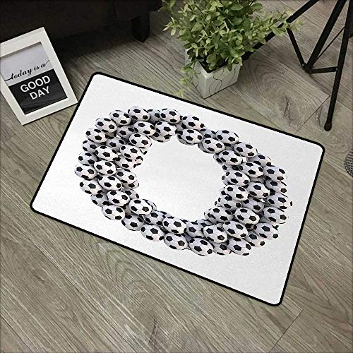 Restaurant mat W24 x L35 INCH Letter O,Round Oval Arrangement of Soccer Balls Sporting Theme Match Day Illustration,Black and White Easy to Clean, no Deformation, no Fading Non-Slip Door Mat Carpet ()