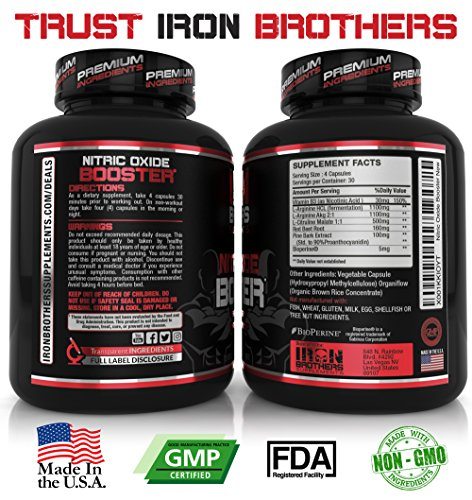 Nitric-Oxide-Supplements-NO2-Booster-Pre-workout-with-Fermented-L-Arginine-Increase-Muscle-Pumps-Blood-Flow-Energy-Strength-Endurance-120-Veggie-Capsules-Citrulline-Best-Men-Natural-Boost-30-Servings