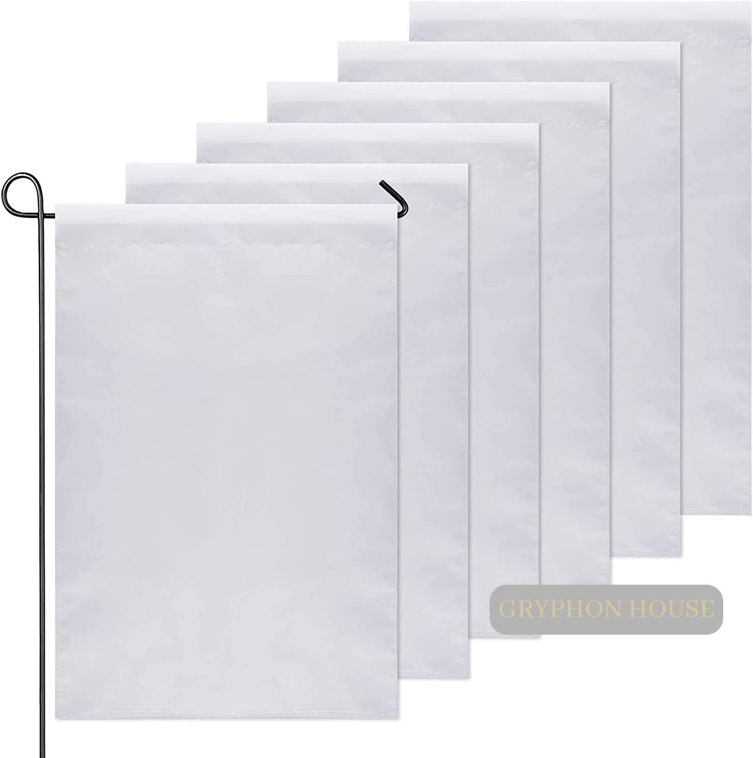 OrangeTag 10Pcs 30x45CM Sublimation Blank Polyester Lawn Garden Flags Parade Banners White