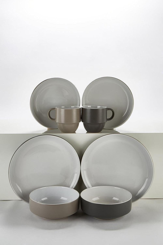 2f0e2728aef2 32-Piece Mix and Match 2 Tone Stoneware Dinner Set With Stack Mugs:  Amazon.co.uk: Kitchen & Home