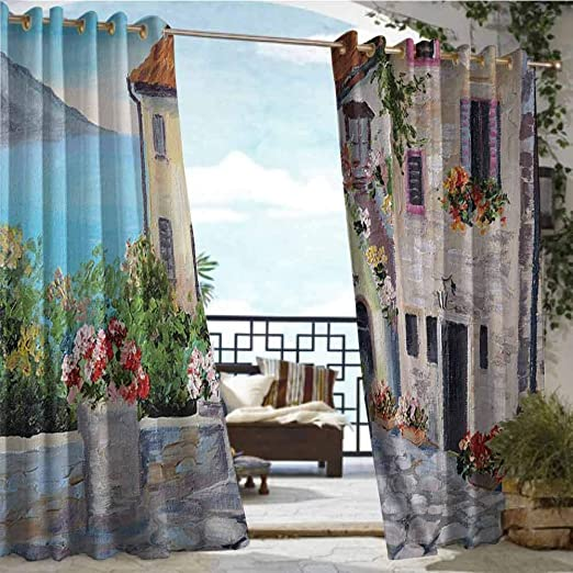 Cortina de privacidad para exteriores, colección de decoración de pérgola, pintura al óleo, vista al mar