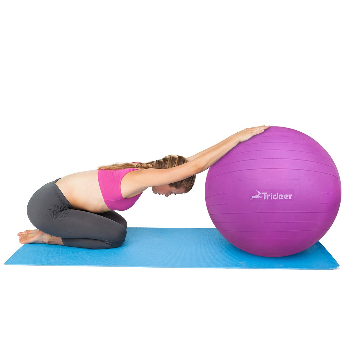 Stability Ball Supports 2200lbs Yoga Ball Trideer Exercise Ball Heavy Duty Ball Chair Birthing Ball with Quick Pump Anti-Burst /& Extra Thick Multiple Color