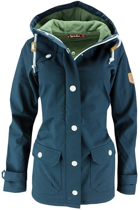 Derbe Peninsula Damen-Softshelljacke Blau mit weißen Knöpfen