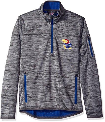 G-III Sports NCAA Kansas Jayhawks Men's Fast Pace Half Zip Pullover Jacket, X-Large, Heather Grey