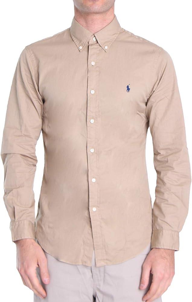 Polo Ralph Lauren Mod. 710787192 Camisa Popelín Slim Fit Hombre Beige XL: Amazon.es: Ropa y accesorios