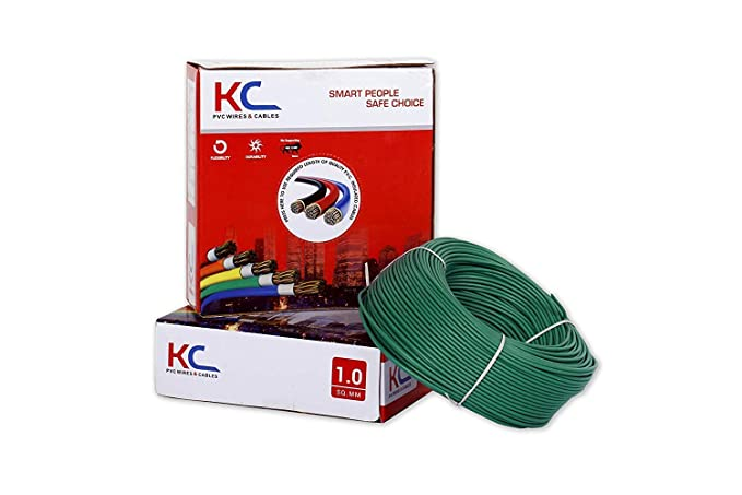 KC Cab 1Sq.mm Copper PVC Insulated Wire(Green, 90 m)