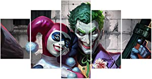 FUNHUA Joker and Harley Quinn Poster Wall Art 5 Panel DC Canvas Painting for Boys Girls Room Bedroom Decor, Unframed
