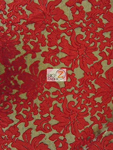 """FLORAL FASHION DRESS GOWNS SEQUINS LACE FABRIC - Red - 56"""" WIDTH SOLD BY THE YARD"""