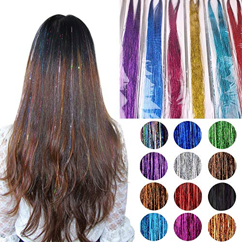 40'' Hair Tinsel,12 Colors 12 Pack 1200 Strands Sparkling Shiny Hair Tinsel Extensions Colored Party Highlights Glitter Extensions Multi-Colors Hair Streak Bling Hair Pieces
