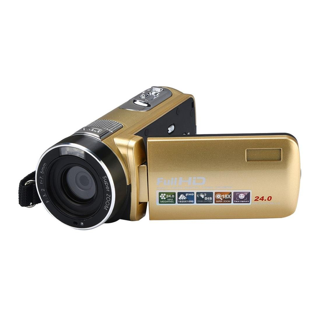 Infrared Night Vision FHD 1080P Camcorder 18X Digital Zoom 24 Million Pixels Video Camcorder with 3 inch 270 degree rotatable Digital Cameras Anti-Shake Digital Camera Vedio Camcorder (Gold)
