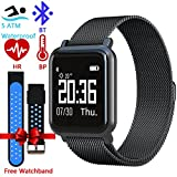 Fitness Tracker for Men Women Kids - Activity Fitness Tracker Bluetooth Smart Watch with Milanese Loop Metal Bracelet Blood Oxygen Blood Pressure Heart Rate Sports Smartwatch [with Extra Sports Bands]