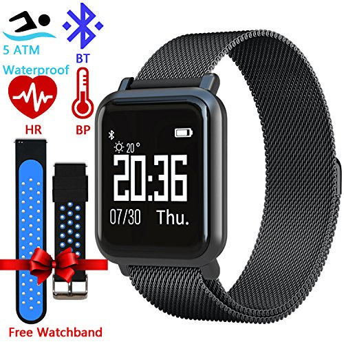 Fitness Tracker for Men Women Kids – Activity Fitness Tracker Bluetooth Smart Watch with Milanese Loop Metal Bracelet Blood Oxygen Blood Pressure Heart Rate Sports Smartwatch [with Extra Sports Bands]