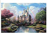 PigBangbang,Handmade Intellectiv Games Photomosaic Jigsaw Puzzle Box Wooden 43.334.2'' Colorful Cartoon 3000 piece Dream Castle