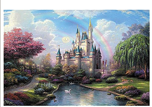 PigBangbang,Handmade Intellectiv Games Photomosaic Jigsaw Puzzle Box Wooden 43.334.2'' Colorful Cartoon 3000 piece Dream Castle
