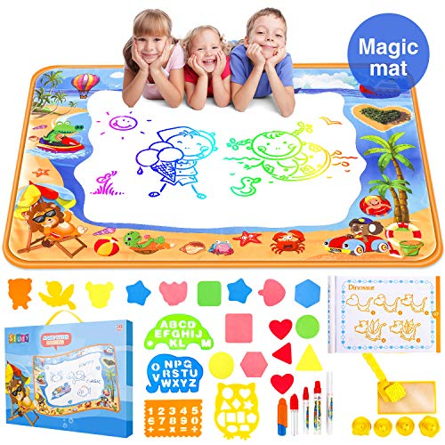 Water Aqua Doodle Drawing Mat - Mess Free Magic Toddles Large Painting Pad - Educational Coloring Writing Toys Gift for Kids Age 2+ -